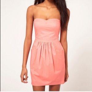 ASOS coral strapless dress